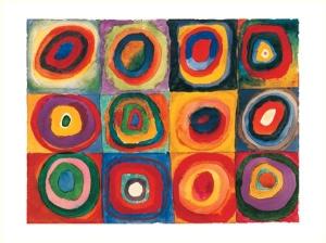 Estudio de Color: Cuadrados con Círculos Concéntricos.
